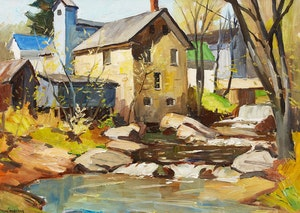 Artwork by Thomas Keith Roberts, Mill, Eastern Townships, Quebec