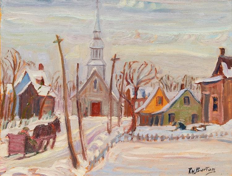 Artwork by Ralph Wallace Burton,  Village in Winter