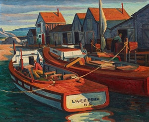 Artwork by Jack Beder, Boats at Wharf (Hunt's Point, N.S.)