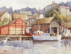 Artwork by William Garnet Hazard, Boats at Harbour; Winter Landscape