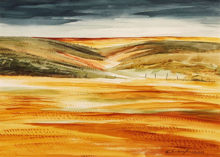 Artwork by Carl Fellman Schaefer,  Wheat Field and Hill, Waterloo County