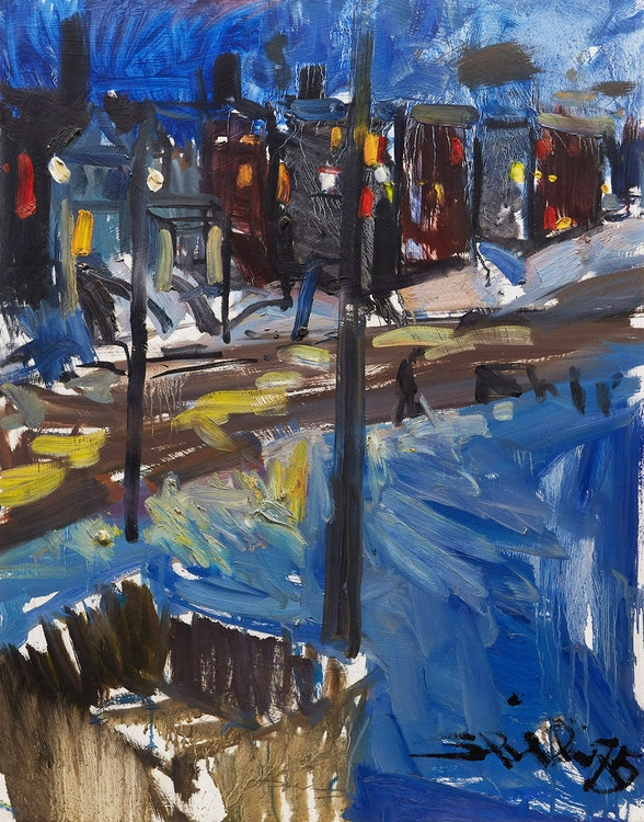 Artwork by Arthur Shilling,  Looking Down from Studio on Broadview