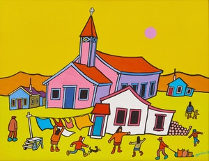 Artwork by Ted Harrison, Old Crow Church - Yukon
