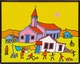 Thumbnail of Artwork by Ted Harrison,  Old Crow Church - Yukon
