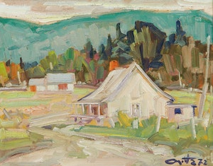 Artwork by Leo Ayotte, Landscape with Cabin