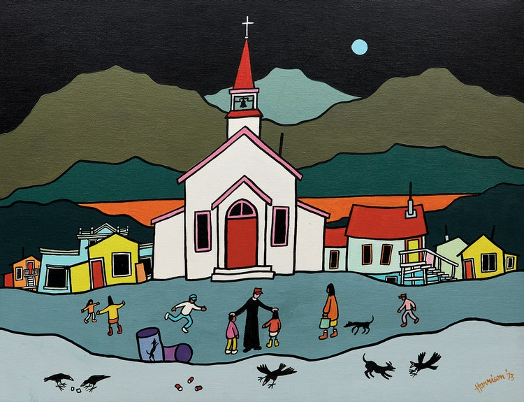 Artwork by Ted Harrison,  Yukon Priest