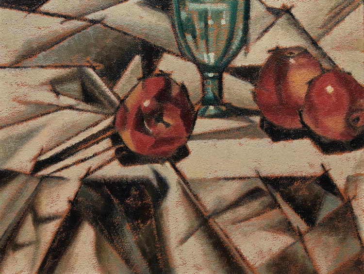 Artwork by Bertram Richard Brooker,  Still Life with Apples and Glass