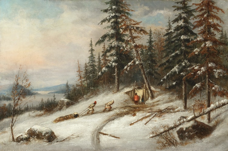 Artwork by Cornelius Krieghoff,  Indian Trappers, Lake St. Charles
