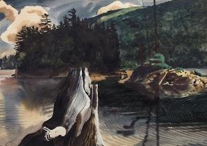 Artwork by Charles Fraser Comfort, Davies Island, Cedar Lake, Algonquin Park