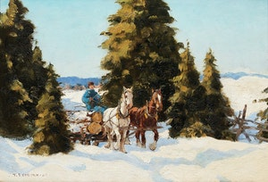 Artwork by Frederick Simpson Coburn, The Logging Trail