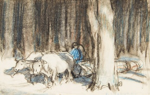 Artwork by Frederick Simpson Coburn, Oxen Hauling Logs in the Townships