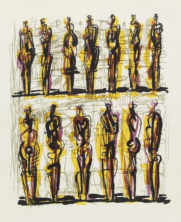 Artwork by Henry Moore,  Thirteen Standing Figures