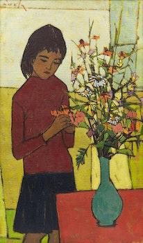 Artwork by Paavo Airola, Eva with Flowers