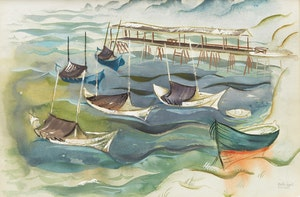 Artwork by Bobs Cogill Haworth, Boats and Wharf, Belle Anse, Gaspé Coast