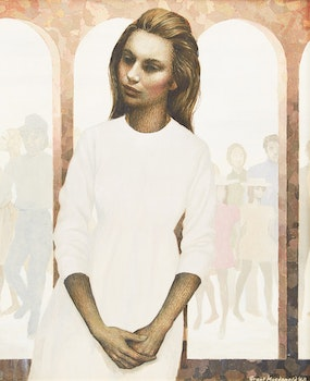 Artwork by Grant Kenneth MacDonald, Woman in White with Arches