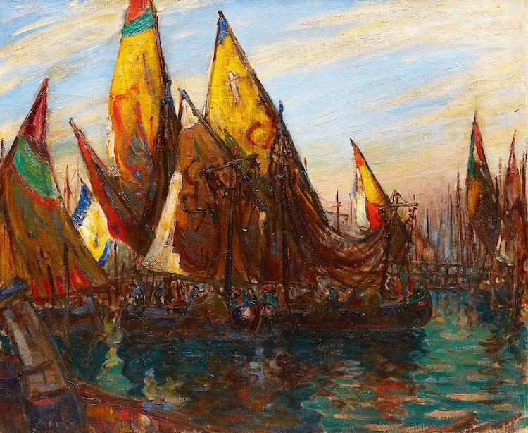 Artwork by Manly Edward MacDonald,  Venetian Fishing Boats
