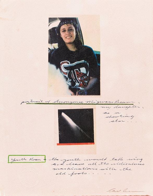 Artwork by Carl Beam,  Portrait of Anongonse Migwans Beams, my daughter, as a shooting star