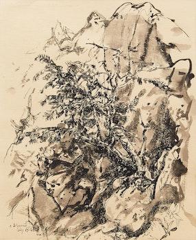 Artwork by Arthur Lismer, Tree and Rock Study