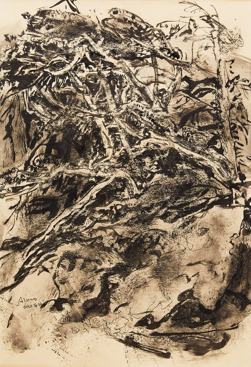 Artwork by Arthur Lismer,  Tangled Tree and Rock Study