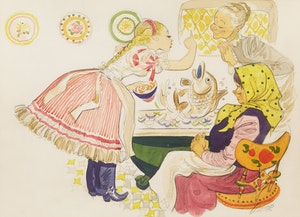 Artwork by William Arthur Winter, Fish for Dinner