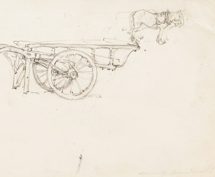 Artwork by Manly Edward MacDonald,  Horses and Carriage; Pair of Figure Studies