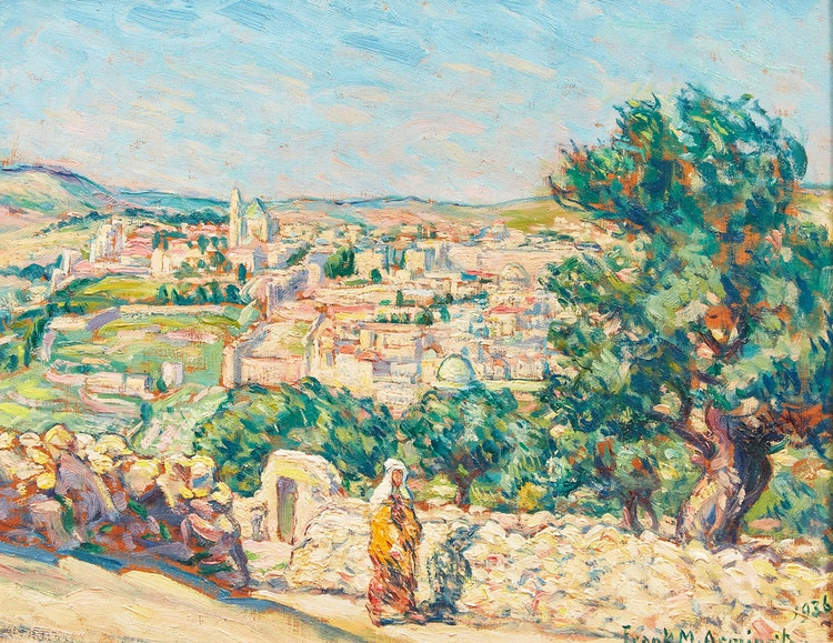 Artwork by Frank Milton Armington,  Southern Part of Jerusalem from Mount of Olives