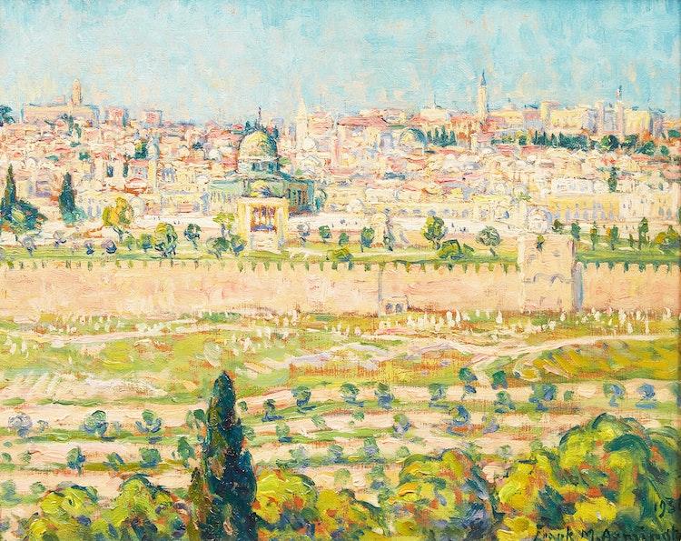 Artwork by Frank Milton Armington,  Jerusalem from Mount of Olives