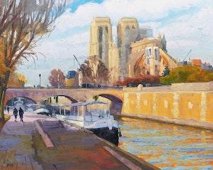 Artwork by Rejean Roy, Notre Dame de Paris après le feu