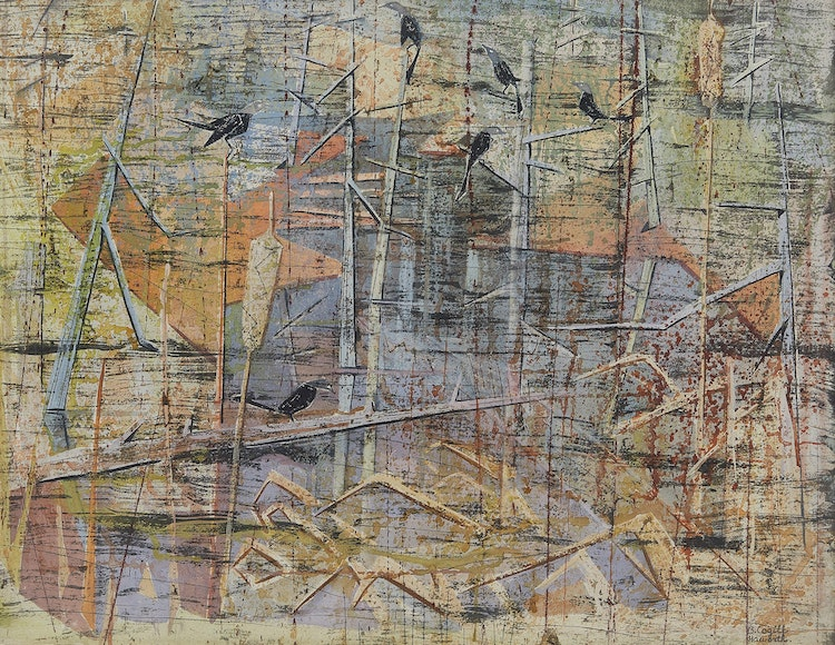 Artwork by Bobs Cogill Haworth,  Grackles by the River