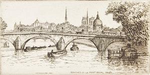 Artwork by Caroline Helena Armington, Peniches et le Pont Royal, Paris; La Rue du Hallage a Rouen; Le Puits, Musée de Cluny, Paris