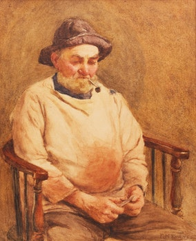 Artwork by F.M.  Evans, Man with Pipe