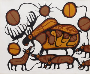Artwork by Norval Morrisseau, Moose and Wolves