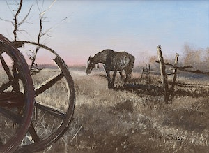 Artwork by Allen Sapp, Flies are Bothering the Horse