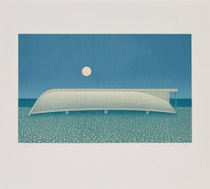 Artwork by Christopher Pratt, A Boat and the Moon