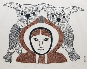 Artwork by Kenojuak Ashevak, Child with Owls