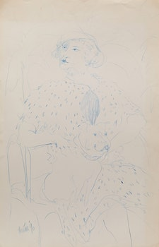 Artwork by Telford Fenton, Portrait of a Woman and a Dog