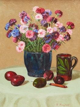 Artwork by Frederick Bourchier Taylor, Still Life: Cornflowers, Avocados, etc.