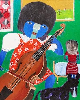 Artwork by Zbiegniew Stanley Kupczynski, Girl with Violin