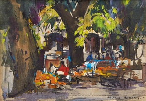 Artwork by Frank Leonard Brooks, Cafe in the Square