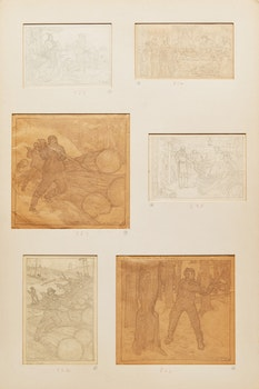 Artwork by Charles William Jefferys, Six Studies of Loggers and other scenes