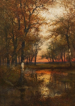 Artwork by Hugo Anton Fisher, Woodland Pool, Sunset