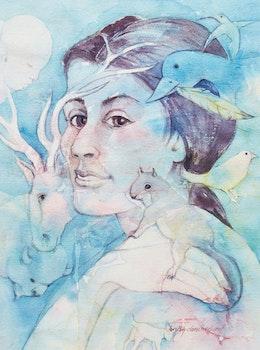 Artwork by Dorothy Clark McClure, Bird Mother, Medicine Woman