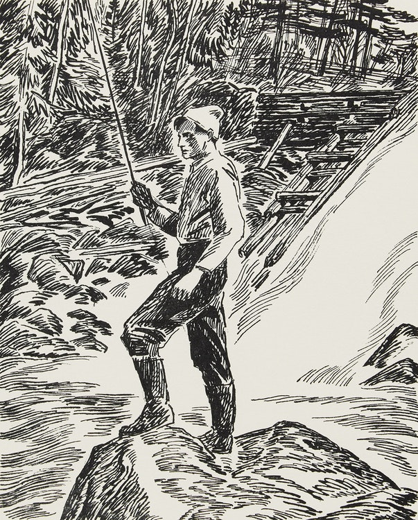 Artwork by Thoreau MacDonald,  Tom Thomson (drawn by T.M. from a  photo by L.S.H.)