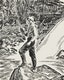 Thumbnail of Artwork by Thoreau MacDonald,  Tom Thomson (drawn by T.M. from a  photo by L.S.H.)