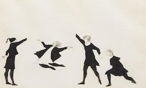 Artwork by Moe Reinblatt, Skipping Girls