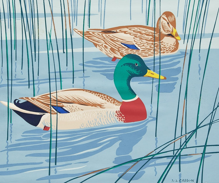 Artwork by Alfred Joseph Casson,  The Common Mallard; The Sharp Tailed Grouse