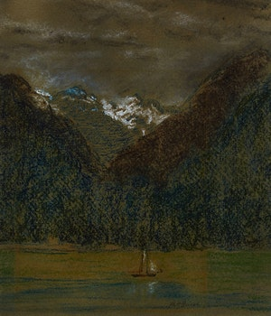 Artwork by Maria Olivia Hewson Guest, Landscape with Sailboat