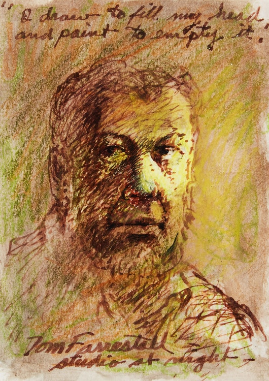 Artwork by Thomas de Vany Forrestall,  Studio at Night (Self Portrait)