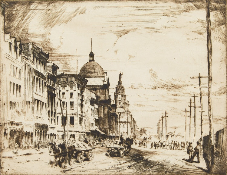 Artwork by Herbert Raine,  Commissioner's Street, Montreal, P.Q.