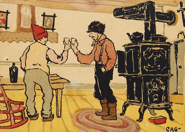 Artwork by Clarence Alphonse Gagnon,  A Votre Santé